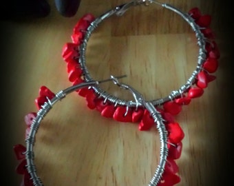 Red Beaded Wire Wrapped Hoop Earrings -40mm 1.75 inches