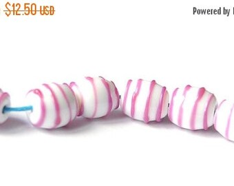 ON SALE Free Form Glass Lampwork Beads - 6 Beads Set  - Rose Raspberry White Strips