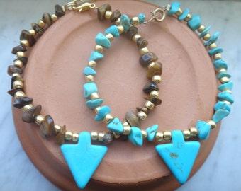 Turquoise Arrowhead Bracelet | Native American Inspired Bracelet | Tigers Eye Chip Arrowhead Bracelet | Turquoise Howlite Arrowhead Bracelet