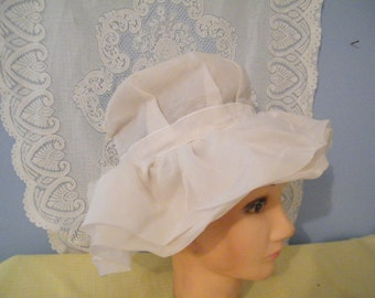 ON SALE Bride Wedding Hat Size 7  Silk and Nylon blend  white  Bow on back vintage 70s suit hat, summer wedding   Needs cleaning