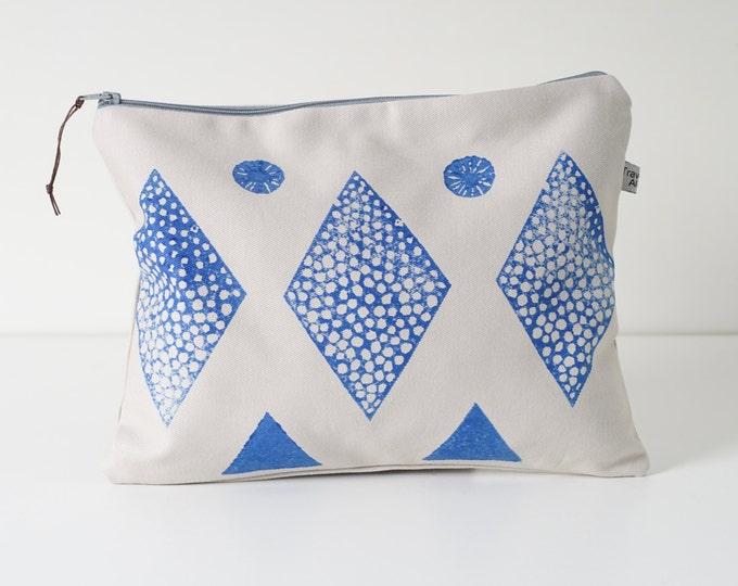 Large Zipper Pouch - Blue Block Print