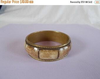 sale Vintage light Brown Brass Enamel Bangle Bracelet