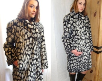 ON SALE vintage Faux fur coat, black and white, vegan fur coat, 1970s,  faux fur, vegan, faux fur stroller, faux black white snow leopard,