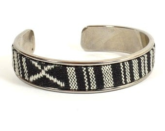 Gunmetal Finished Cuff Bracelet with a Black and White Printed Woven Fabric Inlay -  (I-001)