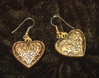 1980s Earrings, Puffy Gold Engraved Heart-Shaped Earrings, Vintage Earrings, Heart Jewelry, Golden Hearts, 1990s Heart Earrings, 1980s