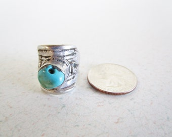 Turquoise And Silver Adjustable Ring Vintage