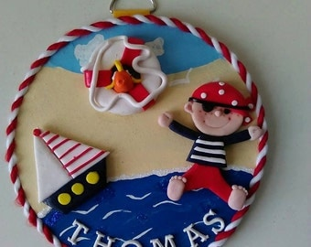 Personalised Childrens door plaque - Pirate themed