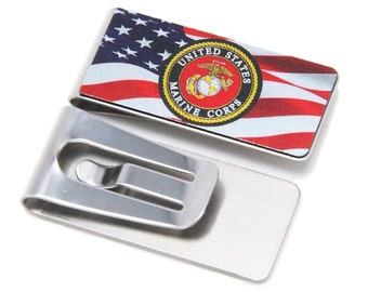 Stainless Steel Money Clip with Marines Symbol and America Flag