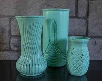 Vintage Mint Green Hand Painted Vases, Shabby Chic, Minty Green Glass Vases