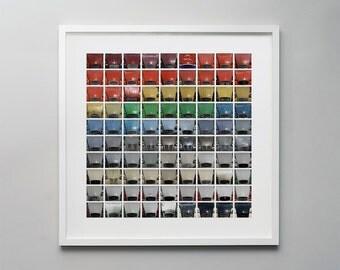 2CV's - A photographic montage of multicoloured Citroen Deux Chevaux car bonnets.