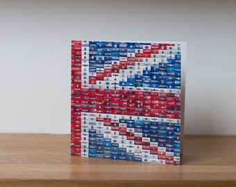 Car Jack - a greetings card featuring a Union Jack made from 864 different Mini car badges