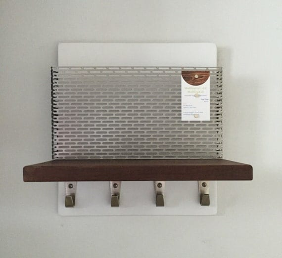 Mid Century Modern Walnut White Magazine Rack Ipad Mail