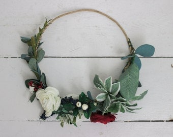 Multi Color Creams, Navy, Reds and Greenery Crown
