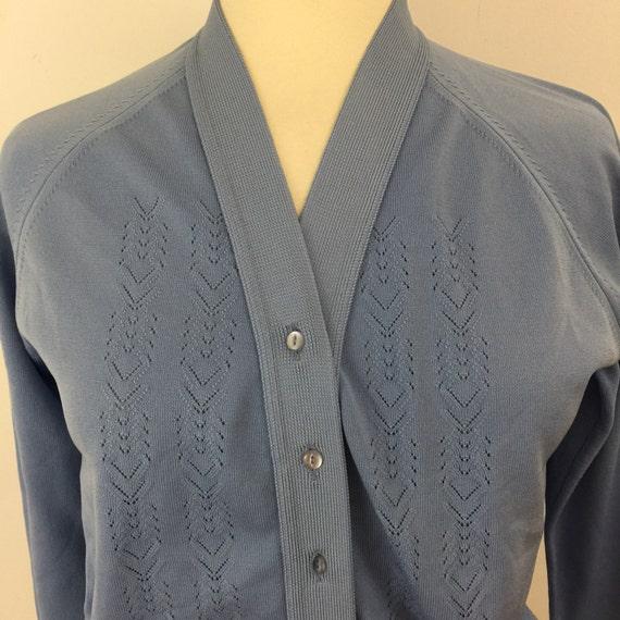 Mod cardigan pastel blue courtelle knit crimplene cardi 1960s 70s style GoGo vintage knitwear UK 14 16