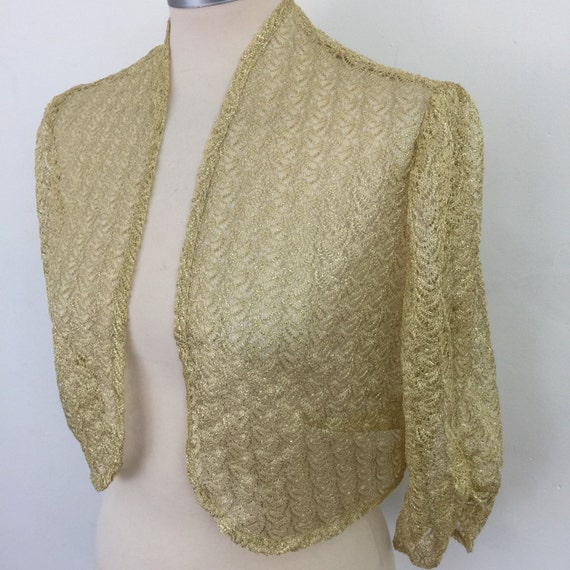 1930s look lace bolero gold lacy cropped fit 1970s does 20s 40s golden sparkly evening wear cropped sleeves handmade UK 12 14