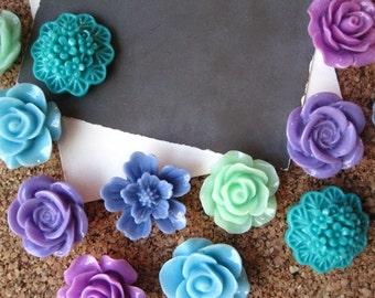 Pretty Thumbtack Set, 12 pc Flower Pushpins, Purple, Blue, Teal and Aqua, Office Supply, Cork Board Pins, Small Gifts, Housewarming Gift