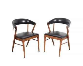 Shelby Williams Arm Chairs Black Naugahyde  Mid Century Modern