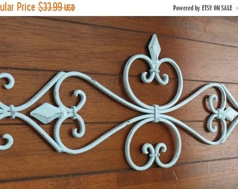 ON SALE TODAY Large Fleur de lis Metal Wall Hanging / Scrolled Iron Wall Decor / Metal Wall Art / Aqua Blue or Pick Color / Shabby Cottage C