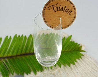 50 X Round Wooden Placecards for Glassware