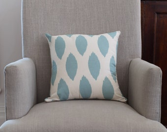 Square Cushion Cover in Premier Prints Chipper Village Blue/Natural Fabric with an Est Linen Backing