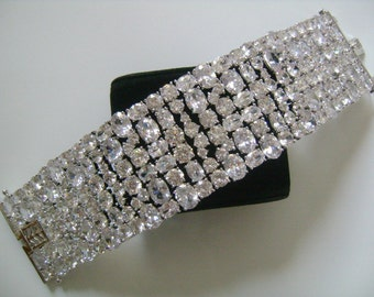 Luxe Hollywood Regency Luscious Sparkling Ice 6-8 Rows Oval & Round Cut Crystal Rhinestone Galore Regal Couture Bracelet Safety Latch 120.9g
