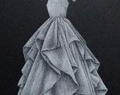 8x10 Custom Wedding Gown Drawing