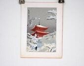Japanese Art - Japanese Artwork - Original Painting - Temple in Snow Winter Scene - Japanese Decor - Zen Decor - Asian Decor - Wall Art