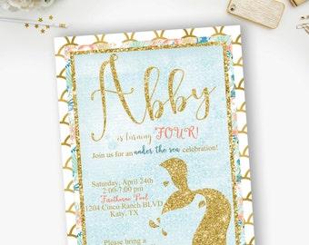 Glitter Tail Mermaid Birthday Invitation, Mermaid Tail, Gold Glitter Mermaid Tail Invitation- YOU PRINT