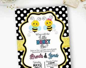PRINTABLE- What Will Our Honey Bee Baby Shower Invitation - YOU PRINT