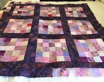 Reduced Purple/lavender Batiks Quilt Top 42x42