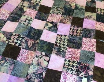 Pink Grey Scrappy Quilt Top 42x52