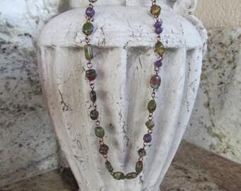 Necklace, Czech Glass Beads, Czech Bead Necklace, Copper Necklace, Fall Color Necklace, Czech Picasso Beads