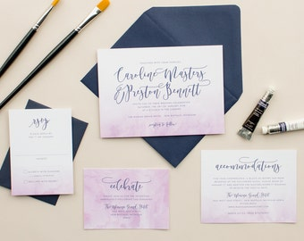 Wedding Invitations with Ombre Watercolor in Purple, Modern Wedding Invites with Dip Dye Watercolor DEPOSIT | Watercolor Wash