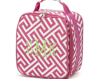 Greek Key Pink Embroidered Insulated Zippered Lunch Box