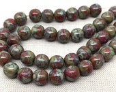 25 Red Picasso Czech Round Glass Beads 8mm