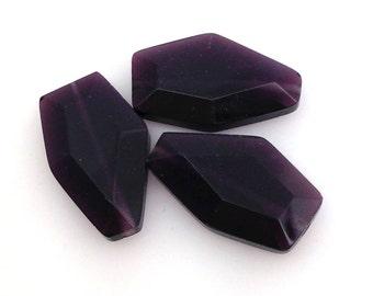 3 Vintage Dark Purple Glass Beads 20mm