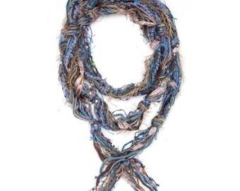 Tan and Blue Scarf, Fringe Scarves, Fringe Necklace, Skinny Scarves, Boho Scarves, Scarves for Women, Bohemian Scarfs, Womens Scarfs, Tribal