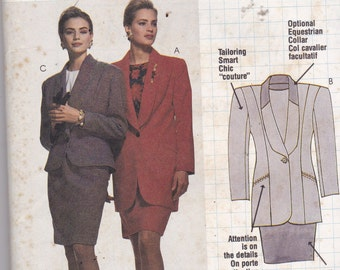 McCalls 6132 Vintage Pattern Womens Lined Jacket in 2 Variations And Lined Slim Skirt Size 16 UNCUT