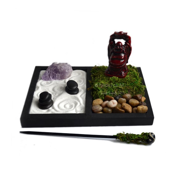 mini zen garden laughing buddha statue desk by neonfoxart. Black Bedroom Furniture Sets. Home Design Ideas