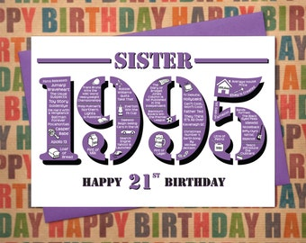 Happy 21st Birthday Sister Greetings Card - Born In 1995 British Facts A5 Female / Womens