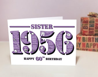 Happy 60th Birthday Sister Greetings Card - Born In 1956 British Facts A5 Purple
