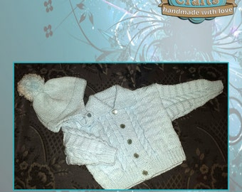 Hand knitted Babies Jacket & Bobble Helmet