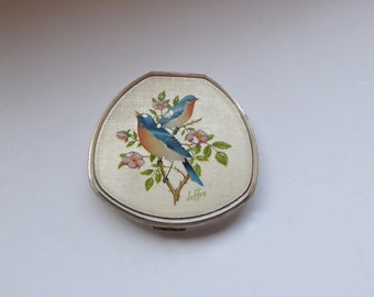 Vintage Stratton Powder Compact,  Stratton Convertible Compact, Hand Painted Bird Scene Signed Joffre