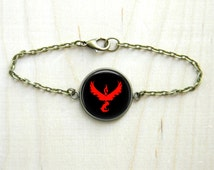 Pokemon Go Team Valor Bracelet Art Brown Jewelry Print Photo Unisex Men Women Bracelet (502)