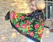 Russian wool shawl/Red green floral shawl Wool shawl/Pavlovo Posad  wool shawl/Vintage shawl/ Floral wool shawl/ Russian shawl/ rusteam