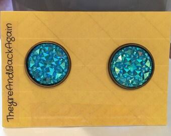 16mm Round Blue Faux Druzy Earrings