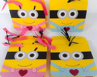 Handmade Minion Valentines, Minion Girl Valentines, Classroom Valentines, School Valentines, Kids Valentines, Childrens Valentines, Minions