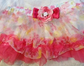 Girls Baby Infant Hot Pink Floral Tutu Skirt - Handmade Irish Rose - Size 9 months