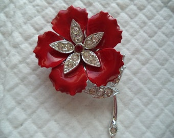 Vintage Fabulous Silvertone Red/Rhinestone Flower Brooch/Pin