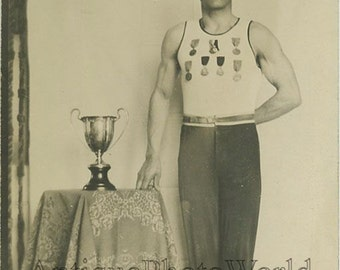 Handsome man athlete w medals trophy antique photo NJ
